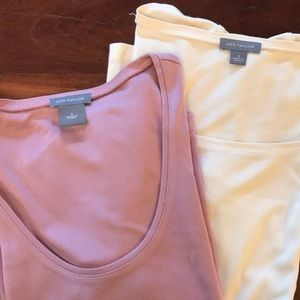 Two silk-cotton blend scoop neck T-shirts